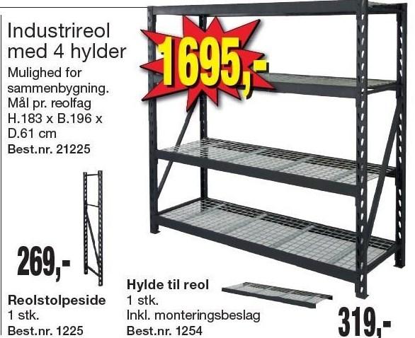 Industrireol m. 4 hylder