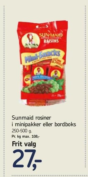 Sunmaid Rosiner i minipakker eller bordboks
