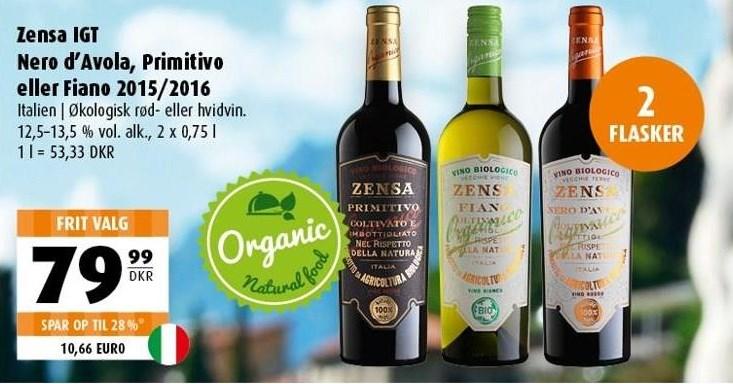 Zensa IGT Nero d'Avola, Primitivo eller Fiano 2015/2016 2 flasker