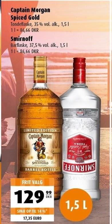 Captain Morgan Spiced Gold eller Smirnoff 1,5 liter