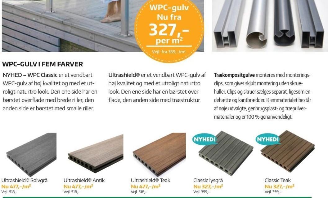 WPC-gulv i fem farver