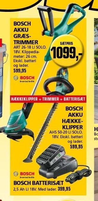 Kun i Vorupgruppen - Bosch akku græstrimmer, hækkeklipper og batterisæt