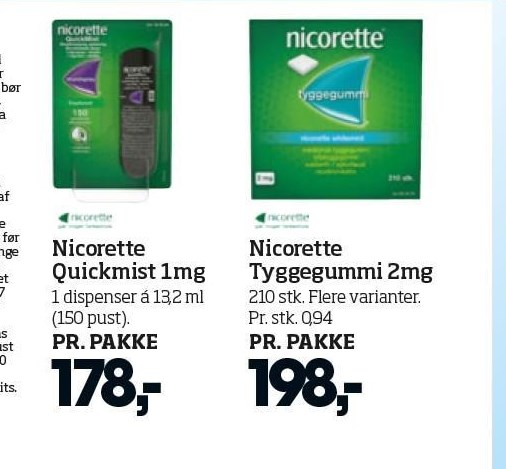 Nicorette Quickmist 1 mg eller Tyggegummi 2 mg