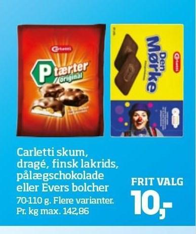 Carletti skum, dragé, finsk lakrids, pålægschokolade eller Evers bolcher
