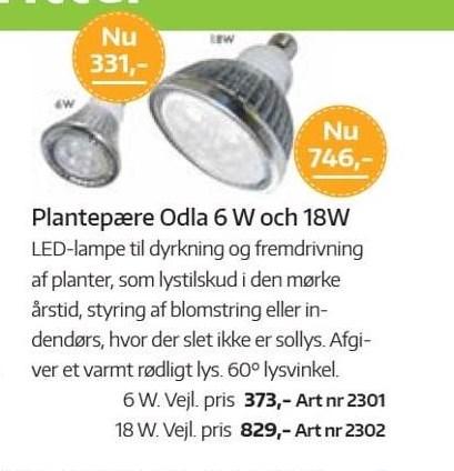Plantepære Odla 6W og 18W
