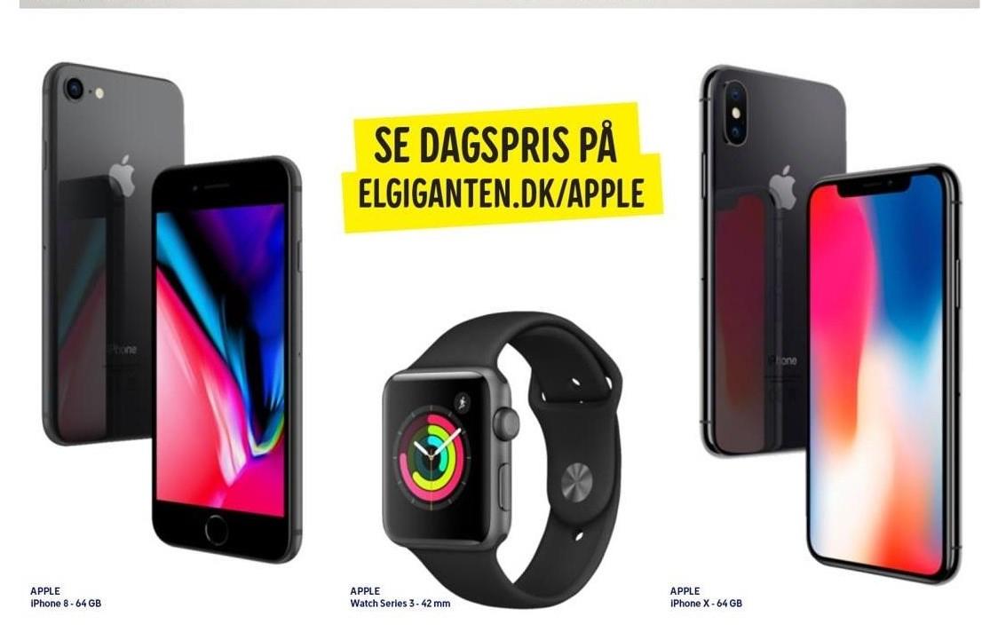 iPhone 8, Apple watch series 3 el. iPhone X
