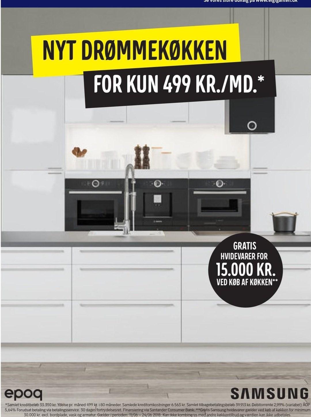 Komplet køkken kr./md.