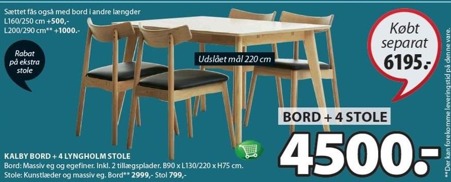 Kalby bord + 4 Lyngholm stole