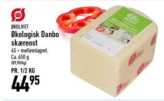 Økologisk Danbo skæreost pr. ½ kg