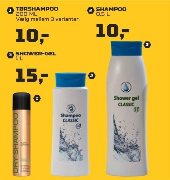 Tørshampoo, shampoo el. shower-gel