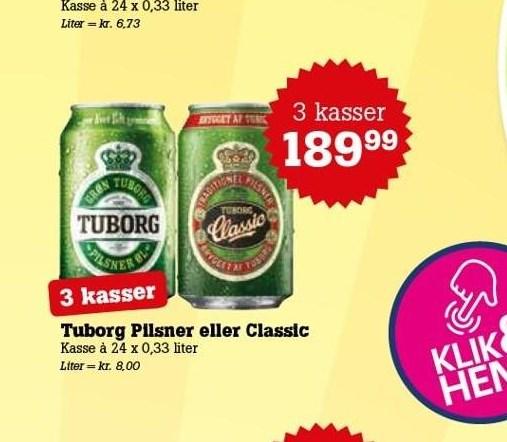 Tuborg Pilsner eller Classic 3 ks.