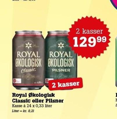Royal Økologisk Classic eller Pilsner 2 ks.