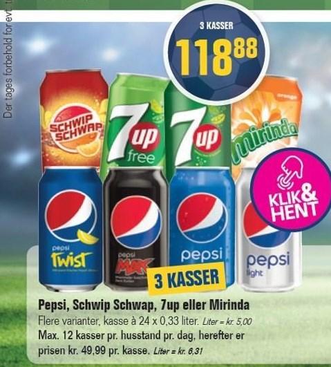 Pepsi, Schwip Schwap, 7up eller Mirinda 3 ks.