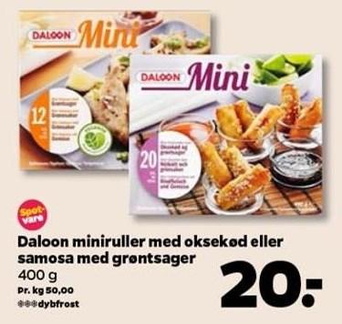 Daloon miniruller el. samosa m. grøntsager