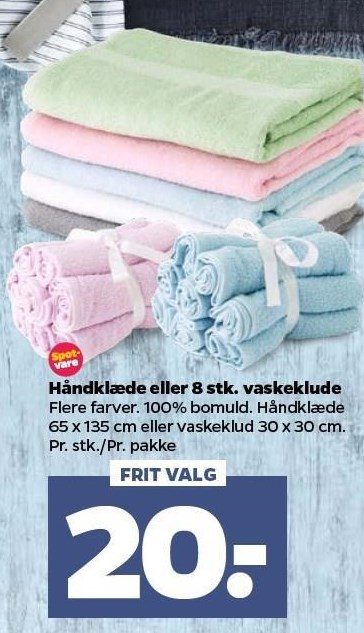 Håndklæde eller 8 stk. vaskeklude