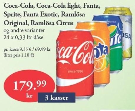 Coca-Cola, Coca-Cola light, Fanta, Sprite, Fanta Exotic, Ramlösa 3 ks.