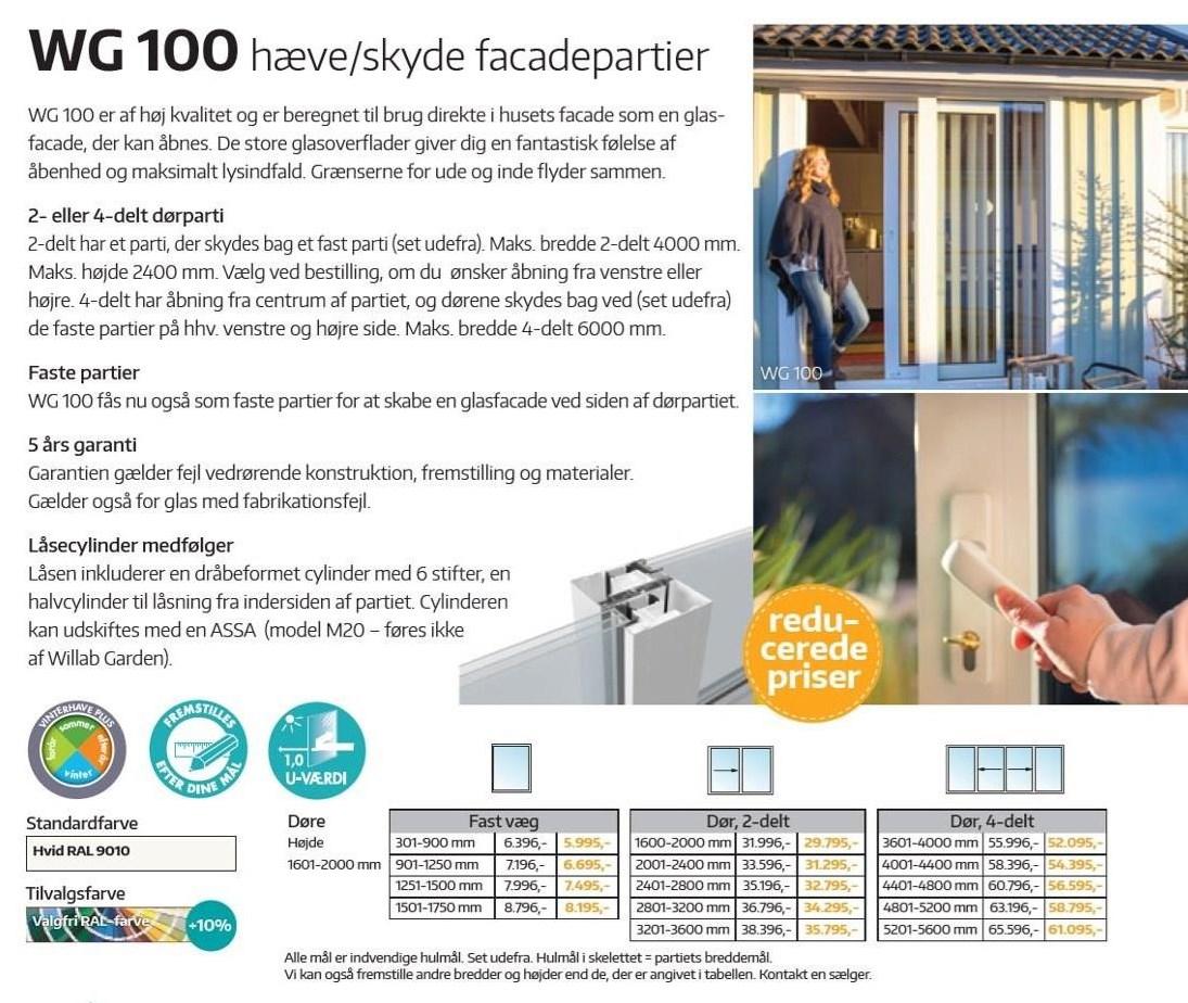 WG 100 hæve/skyde facadepartier