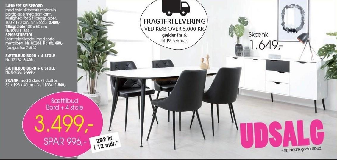 Spisebord inkl. 4 stole