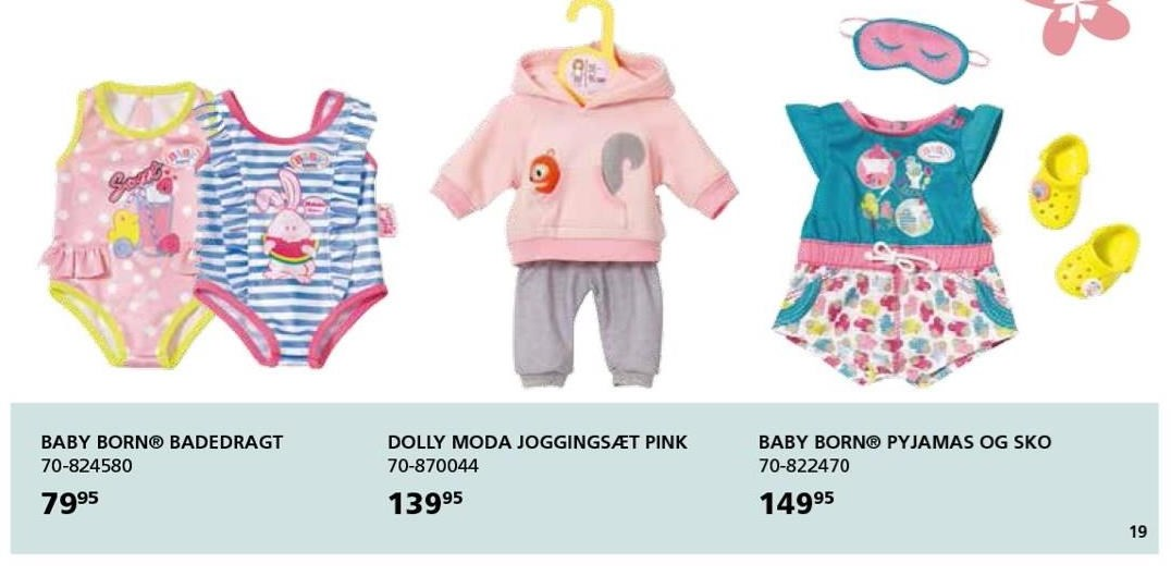 Baby born badedragt, Dolly moda joggingsæt pink el. Baby Born Pyjamas og sko