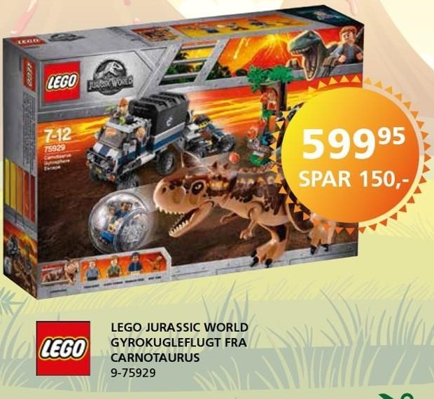 LEGO Jurassic World Gyrokugleflugt fra Carnotaurus