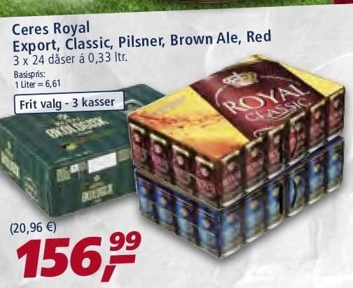 Ceres Royal Export, Classic, Pilsner, Brown Ale el. Red
