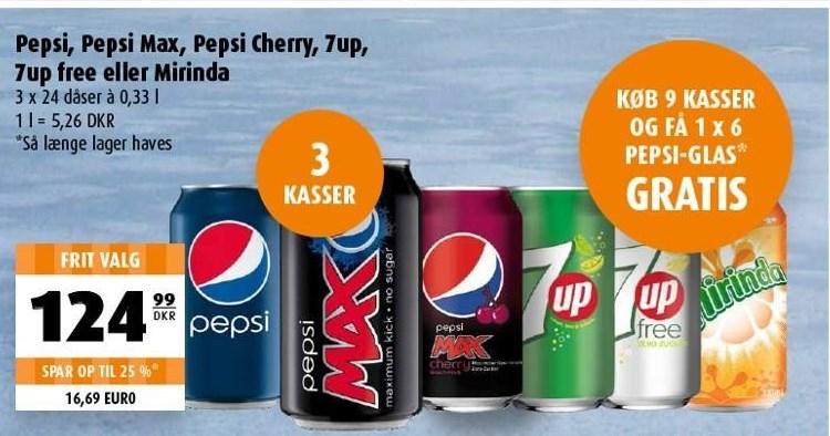 Pepsi, Pepsi Ma, Pepsi Cherry, 7up, 7up free eller Mirinda 3 ks