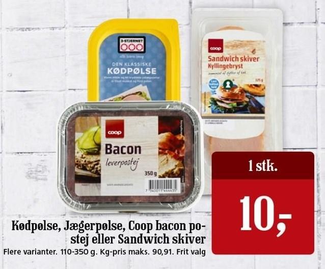 Kødpølse, Jægerpølse, Coop bacon postej eller sandwich skiver