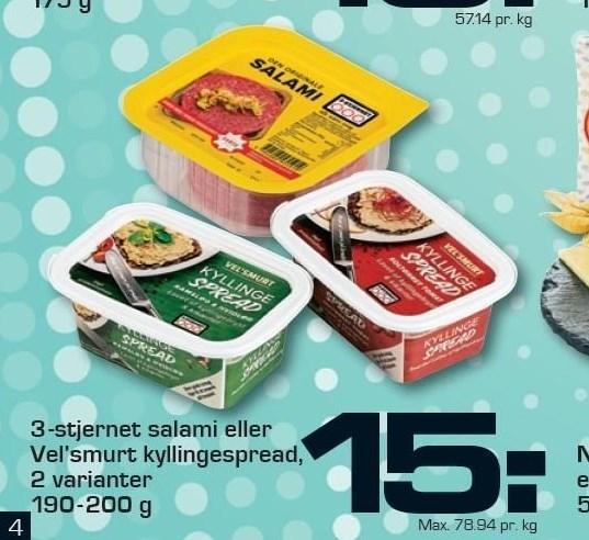 3-stjernet salami eller Vel'smurt kyllingespread