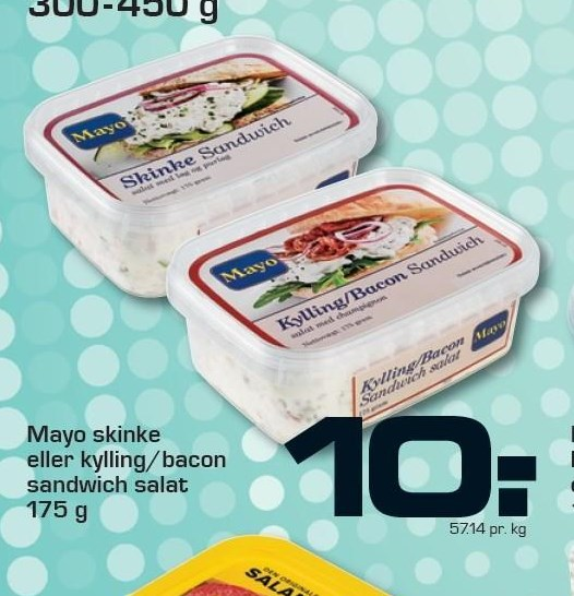 Mayo Skinke eller kylling/bacon salat
