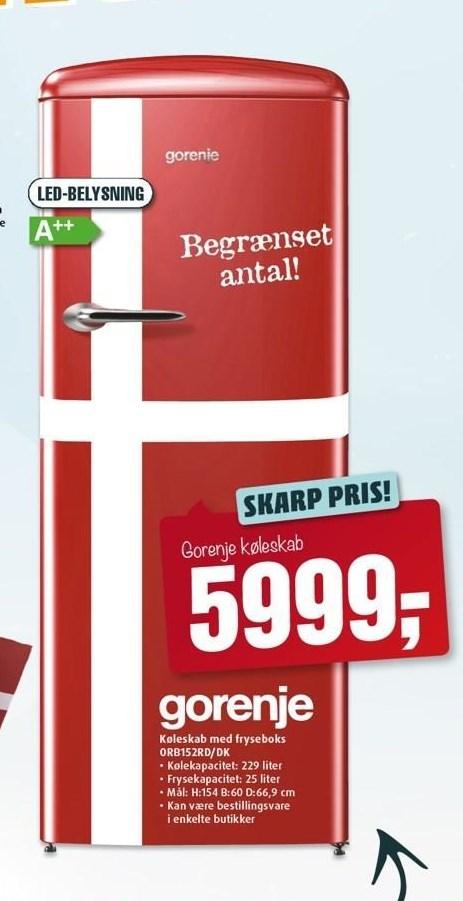 Gorenje køleskab m. fryseboks