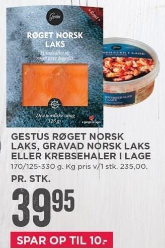 Gestus røget norsk laks, gravad norsk laks eller krebsehaler i lage
