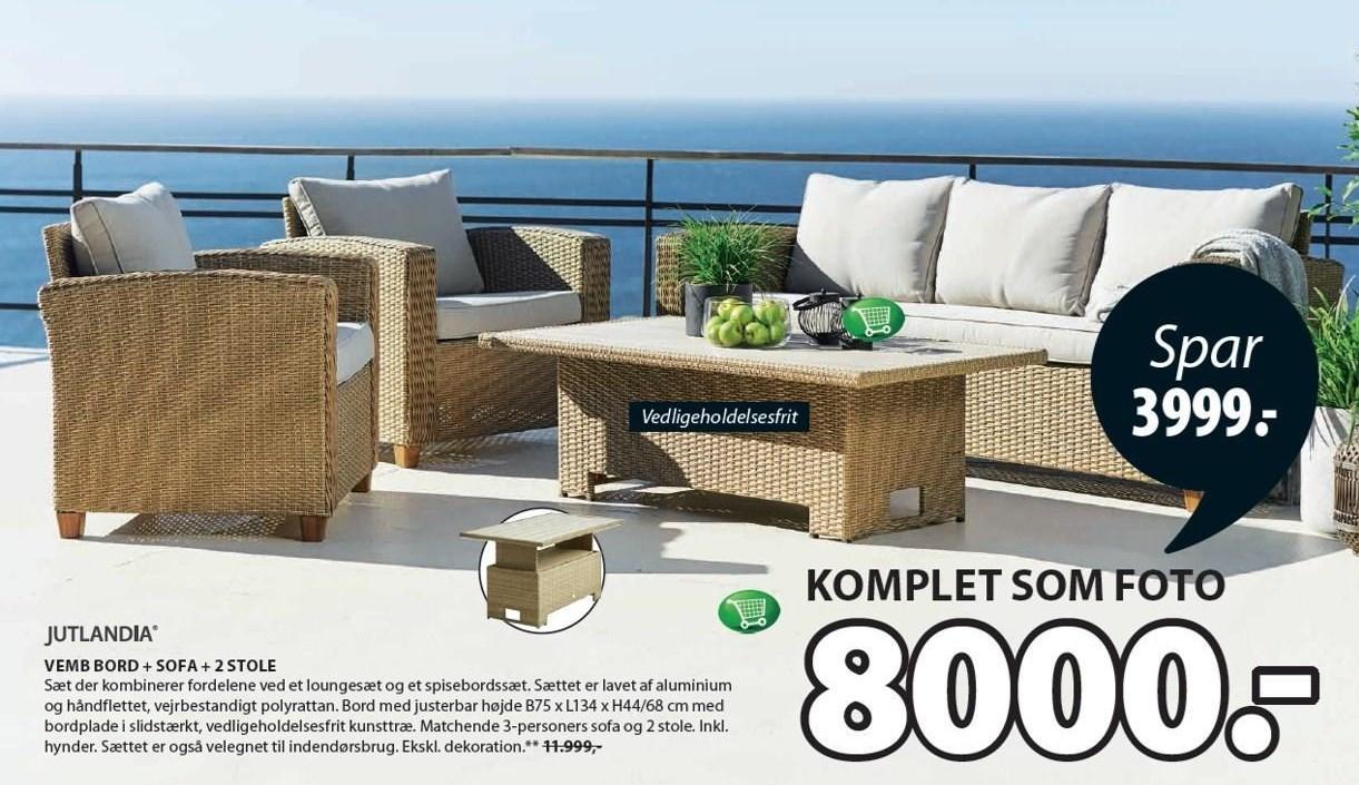 Vemb bord + sofa + 2 stole