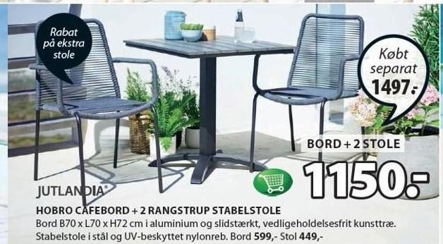 Hobro cafebord + 2 Rangstrup stabelstole
