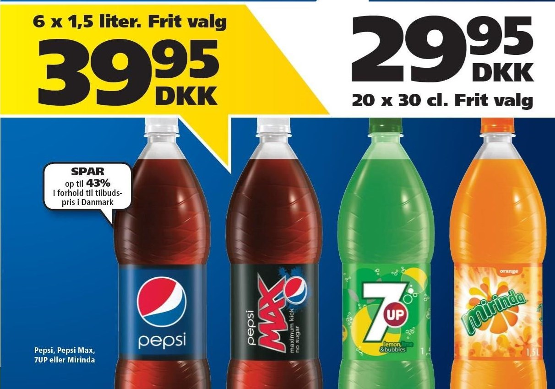 Pepsi, Pepsi Max, 7UP eller Mirinda 6 fl.