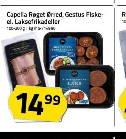 Capella røget ørred, gestus fiskefrikadeller el. laksefrikadeller