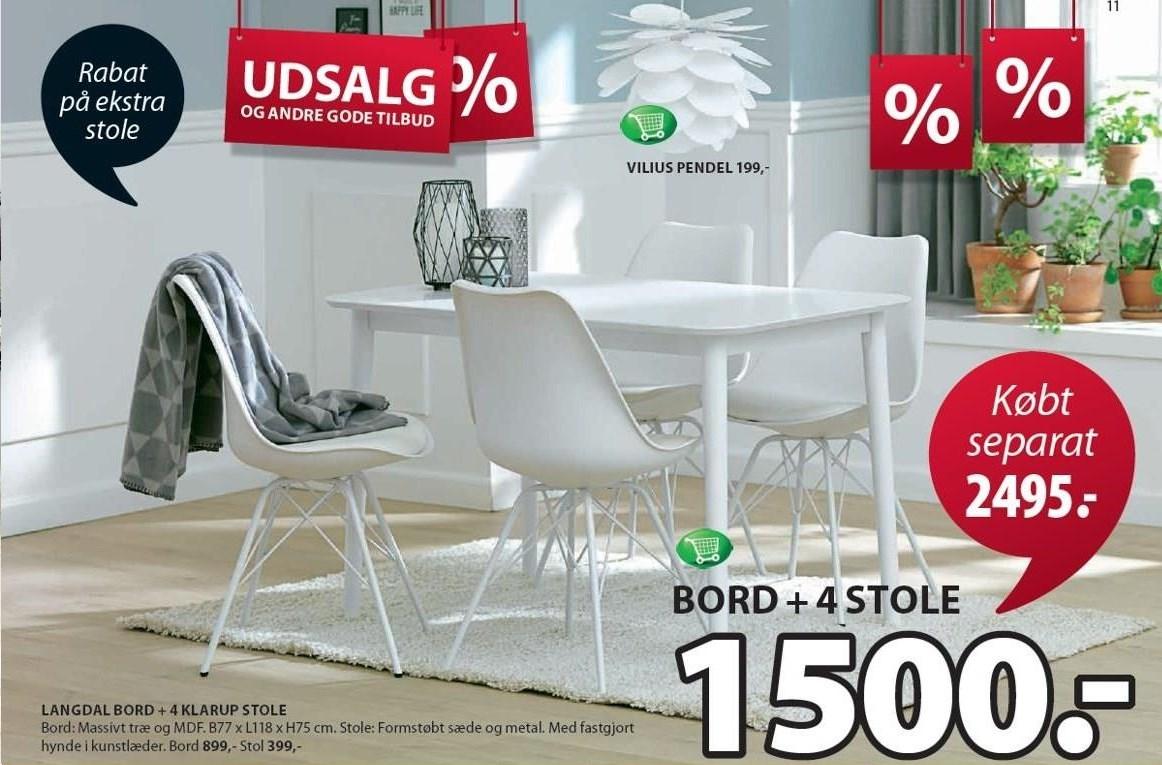 Langdal bord inkl. 4 stole