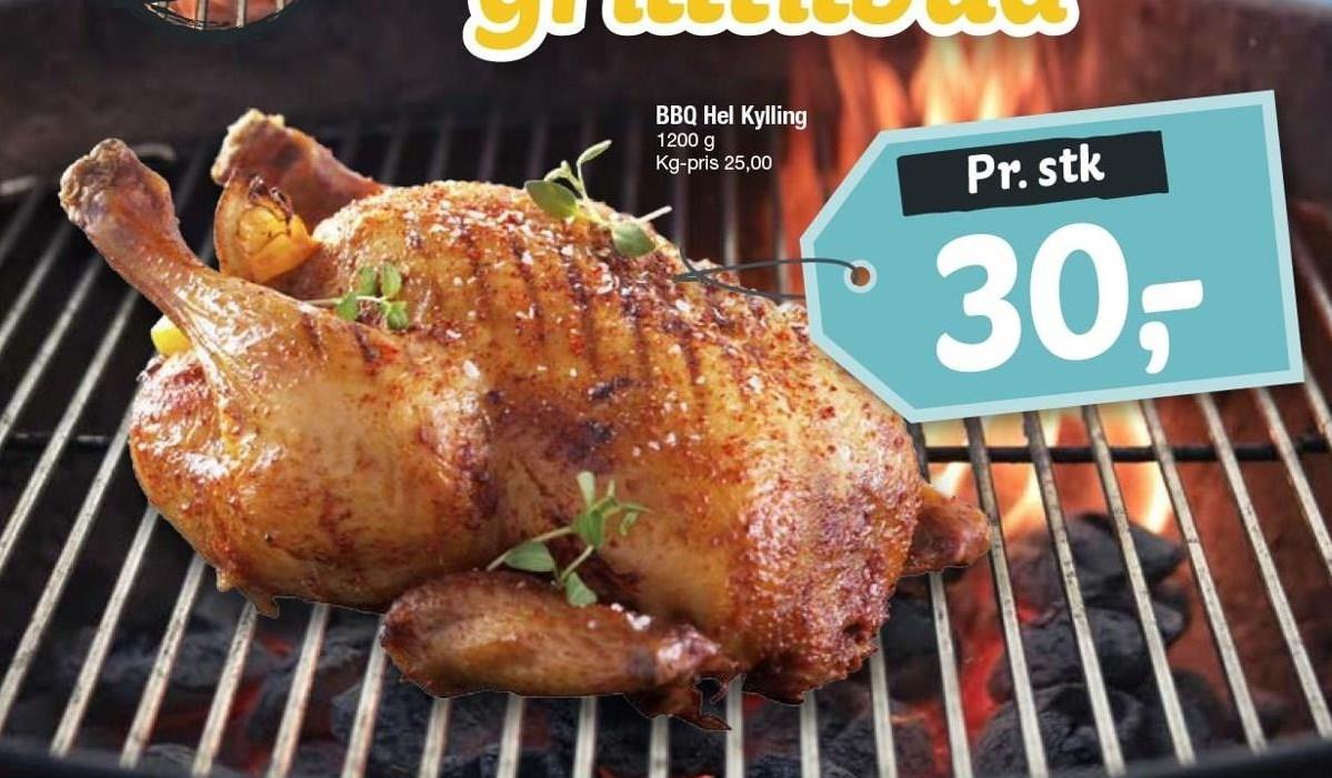 BBQ hel kylling 1200 g