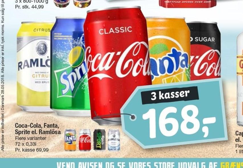 Coca-Cola, Fanta, Sprite eller Ramlösa 3 kasser