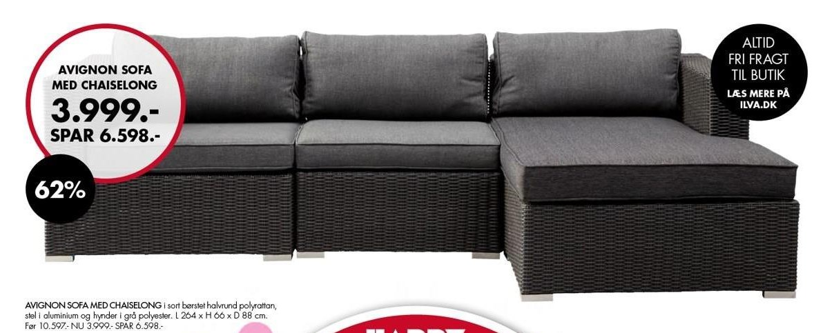 Avignon sofa med chaiselong