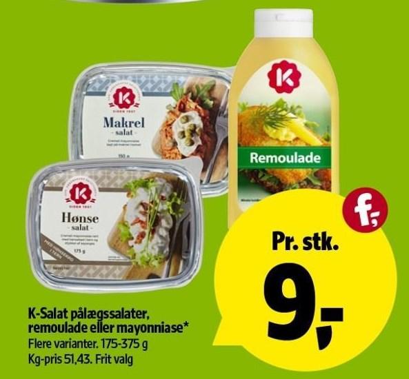 K-Salat pålægssalater, remoulade el. mayonnaise