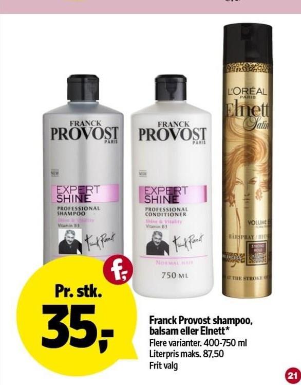 Franck Provost shampoo, balsam el. Elnett styling