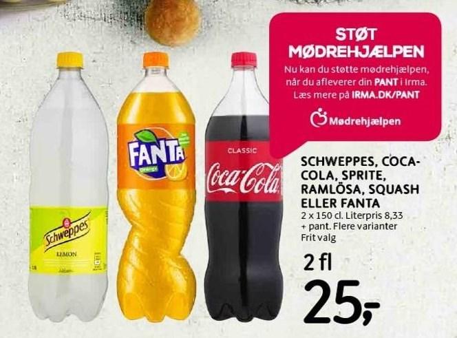 Schweppes, Coca-Cola, Sprite, Ramlösa, Squash el. Fanta 2 fl.