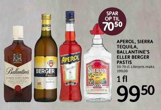 Aperol, Sierra Tequila, Ballantine's el. Berger Pastis