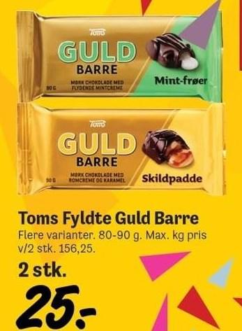 Toms fyldte guld barre 2 stk.