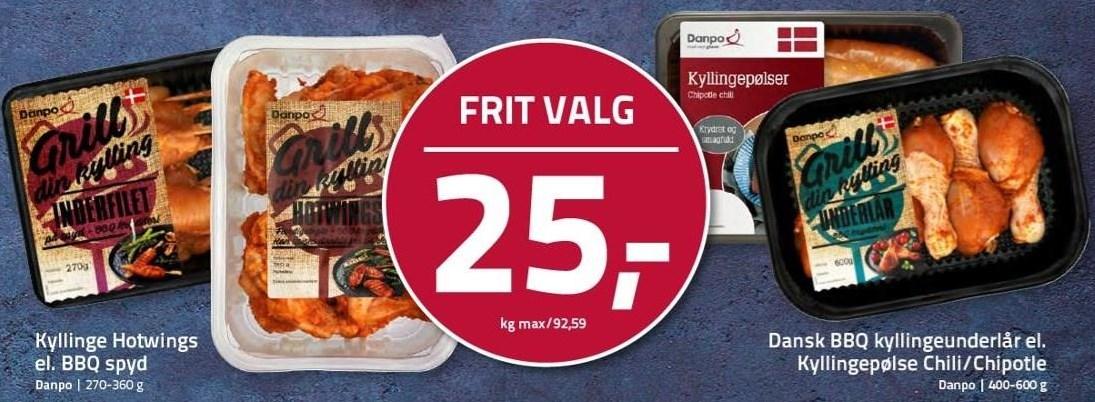 Kyllinge Hotwings el. BBQ spyd el. Dansk BBQ kyllingeunderlår el. Kyllingepølse Chili/Chipotle