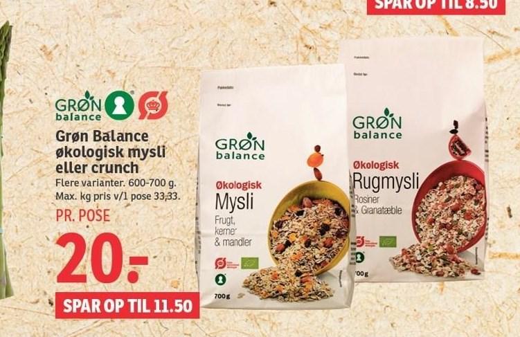 Grøn Balance økologisk müsli eller crunch