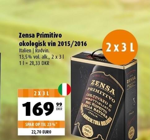 Zensa Primitivo økologisk vin 2015/2016