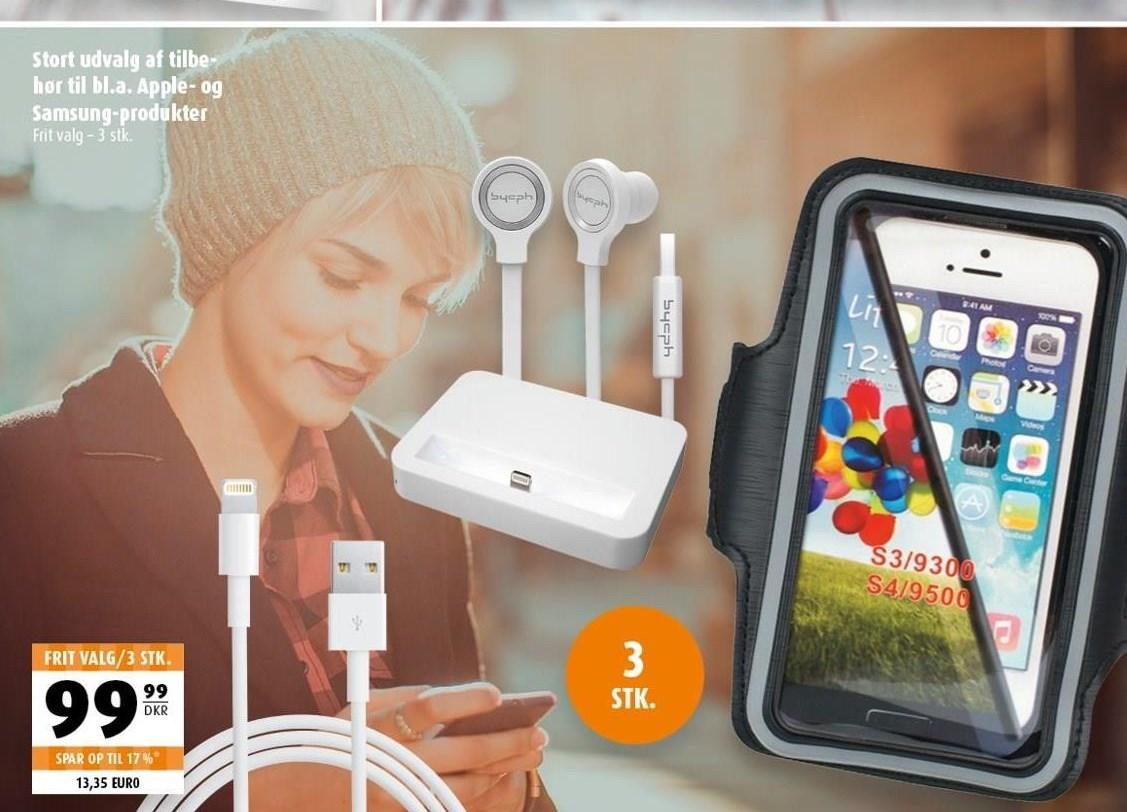 Tilbehør til Apple- og Samsung-produkter 3 stk.