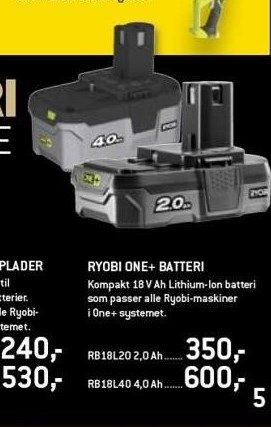 Ryobi one+ batteri