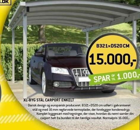 XL-byg stål carport enkel
